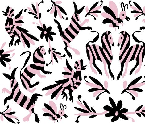 Black Pink Mexican Otomi Animals fabric by thestylesafari on Spoonflower - custom fabric