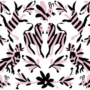 Black Pink Mexican Otomi Animals