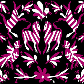 Black Fuchsia Mexican Otomi Animals