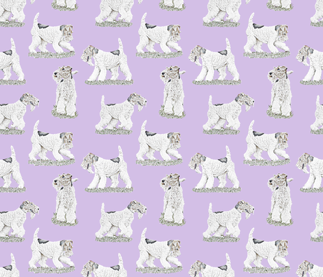 Playful Wire Fox Terrier - purple fabric by rusticcorgi on Spoonflower - custom fabric