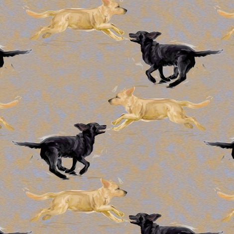 Labrador Retrievers Running fabric by eclectic_house on Spoonflower - custom fabric