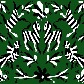 Forest Green Mexican Otomi Animals