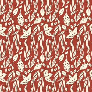 Leaves on Red