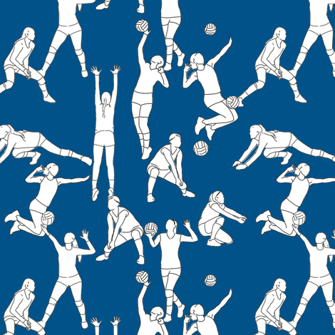 Volleyball on Navy fabric by landpenguin on Spoonflower - custom fabric