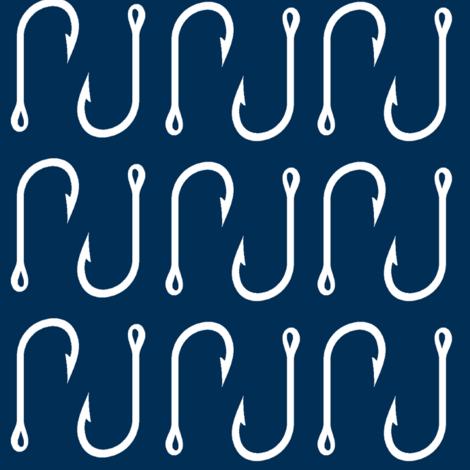 Fish hooks // white on navy - LARGE Scale fabric by buckwoodsdesignco on Spoonflower - custom fabric