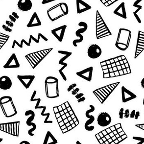 memphis // black and white 80s trendy kids memphis shapes triangles