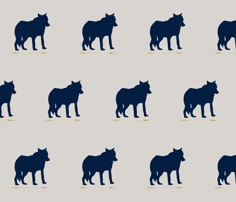 wolf_navy fabric by sproutz on Spoonflower - custom fabric
