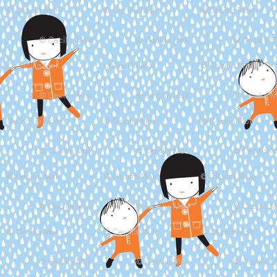 Dancing in the Rain - Blue and Orange