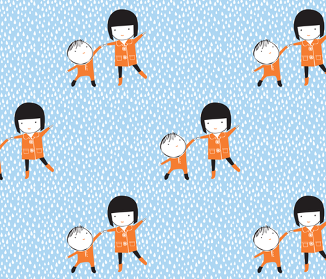 Dancing in the Rain - Blue and Orange fabric by ceciliamok on Spoonflower - custom fabric