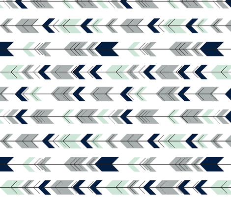 Fletching Arrrows 90 // Northern lights (white) fabric by littlearrowdesign on Spoonflower - custom fabric