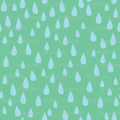 Dancing in the Rain - Green Raindrops