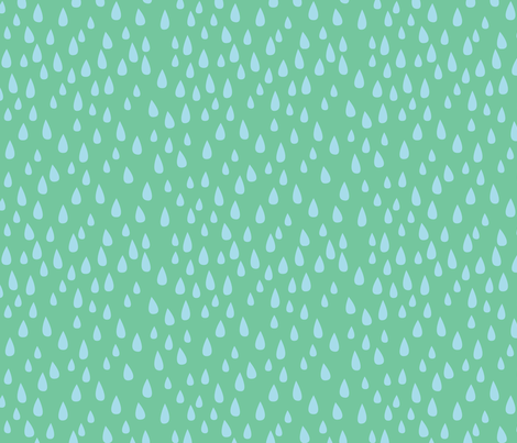 Dancing in the Rain - Green Raindrops fabric by ceciliamok on Spoonflower - custom fabric