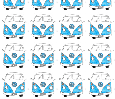 Blue Kombi fabric by blue_jacaranda on Spoonflower - custom fabric