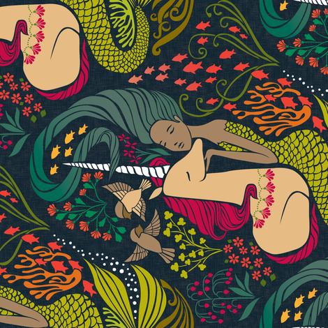 The Mermaid and the Unicorn - Mamara (Horizontal) fabric by ceciliamok on Spoonflower - custom fabric