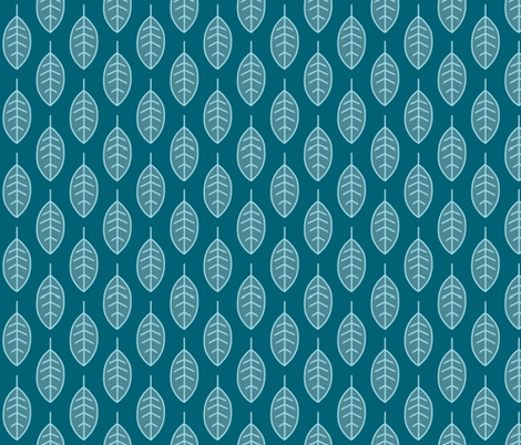 leaves-half scale-teal-Winslow  fabric by sugarpinedesign on Spoonflower - custom fabric