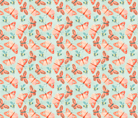 butterflies and bees fabric by cjldesigns on Spoonflower - custom fabric
