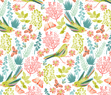 birds in the garden fabric by cjldesigns on Spoonflower - custom fabric