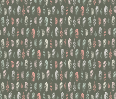 Feather Lines Earth fabric by phirefly_print on Spoonflower - custom fabric