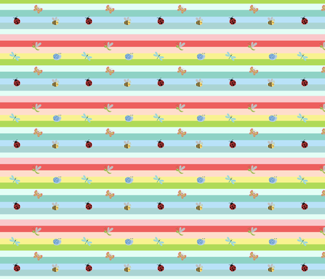 Rainbow Tropical Buggles  -Small fabric by drapestudio on Spoonflower - custom fabric