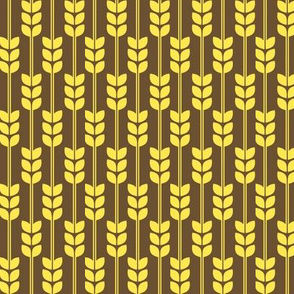 1970s Wheat in Yellow on Brown - small