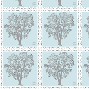 Forest Oak Tree in blue and gray Quilt Squares grey