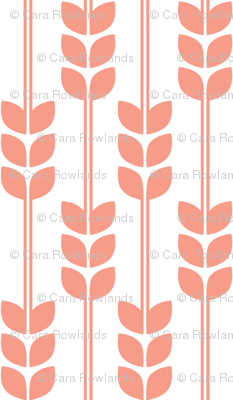 Wheat - Coral on White, Small