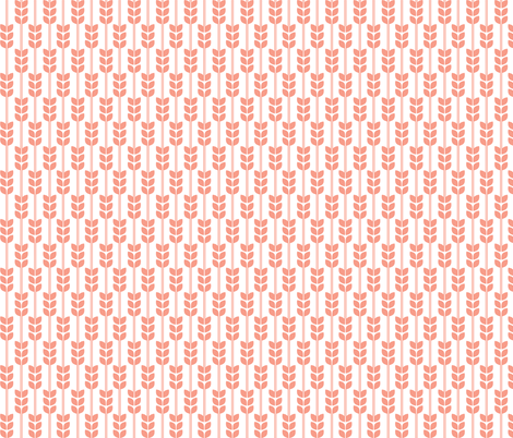 Wheat - Coral on White, Small fabric by carabaradesigns on Spoonflower - custom fabric