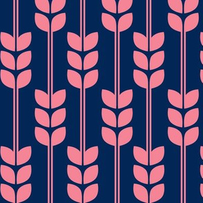 Wheat - Pink on Navy