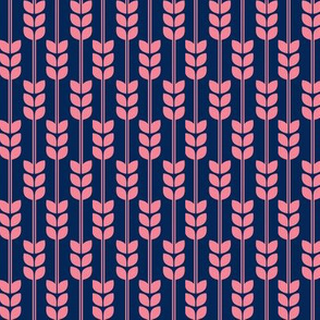 Wheat - Pink on Navy, Small