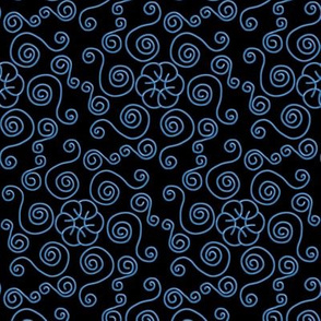 Blue Hexagon Swirls on Black