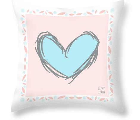 Pink and Blue Heart with Forest Leaves Quilt Squares