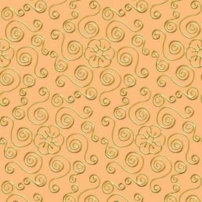 Fake Gold Hexagon Swirls on Peach