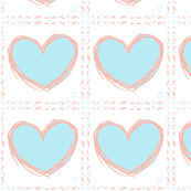 Pink and Blue Heart Baby Fabric Quilt Squares