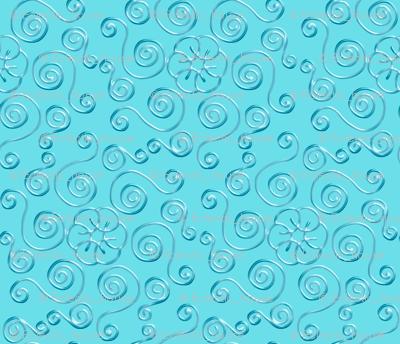 Blue Hexagon Swirls on Aqua