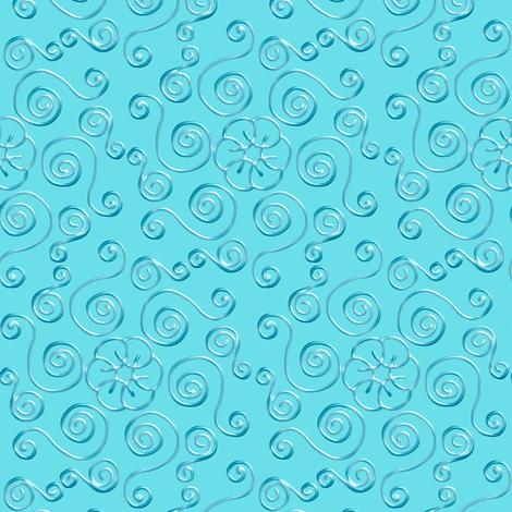 Blue Hexagon Swirls on Aqua fabric by eclectic_house on Spoonflower - custom fabric