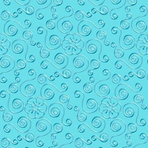 Blue Hexagon Swirls on Aqua