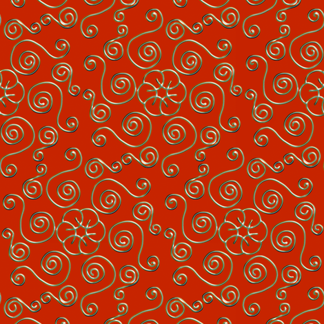 Fake Gold Hexagon Swirls on Red fabric by eclectic_house on Spoonflower - custom fabric