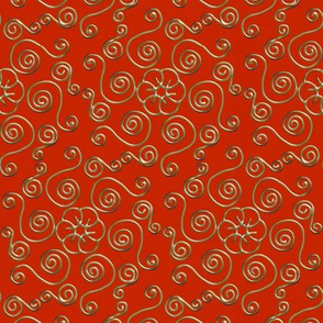 Fake Gold Hexagon Swirls on Red