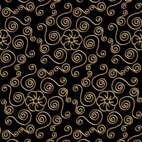 Fake Gold Hexagon Swirls on Black
