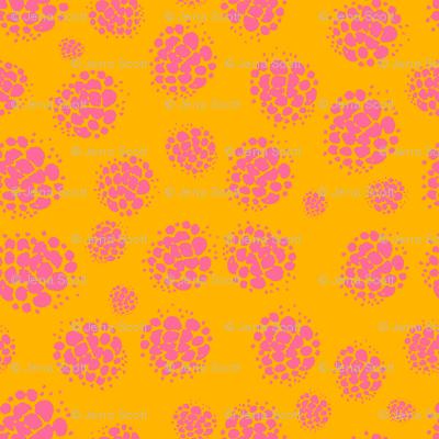 Raspberry Spots Pink on Orange