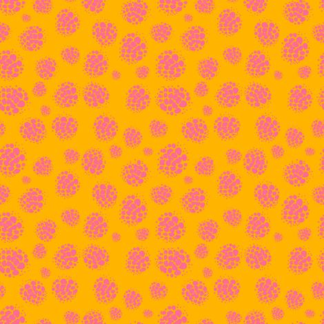 Raspberry Spots Pink on Orange fabric by supermoxie on Spoonflower - custom fabric