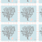 Baby Fabric Gray Tree Pink Cat Quilt Squares
