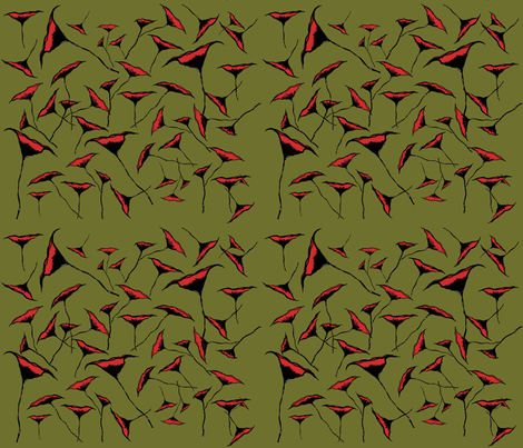 Poppies On Moss Green fabric by therustichome on Spoonflower - custom fabric