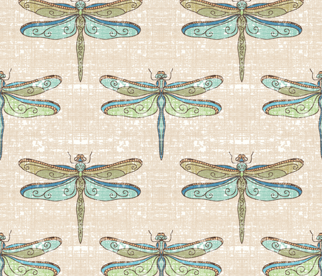 dragonflies - cool tones fabric by designed_by_debby on Spoonflower - custom fabric