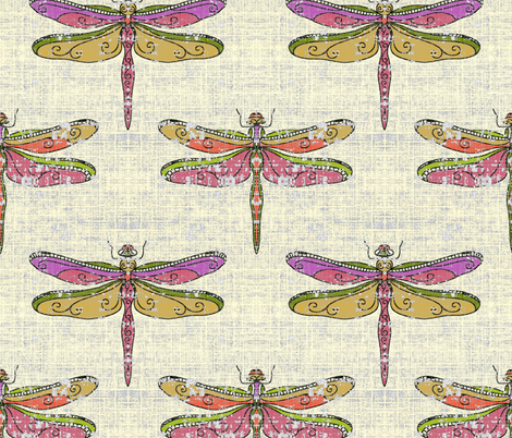 dragonflies - warm tones fabric by designed_by_debby on Spoonflower - custom fabric