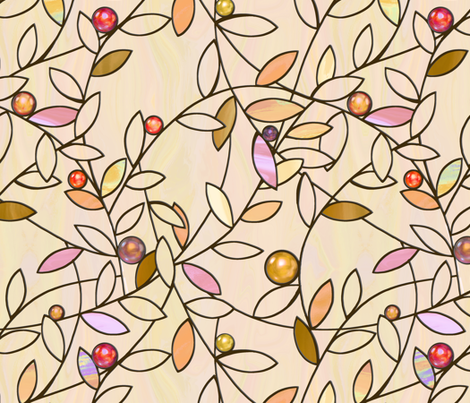 jeweled vines - warm beige fabric by designed_by_debby on Spoonflower - custom fabric