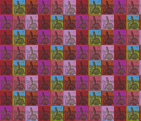 Native American Woman on Color squares fabric by lazella_rosetta on Spoonflower - custom fabric