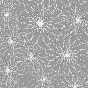 Spirograph Flowers Grey