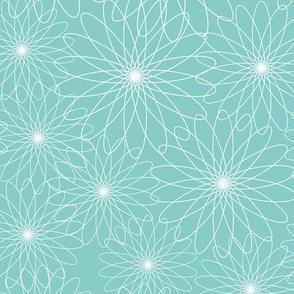 Spirograph Flowers Aqua