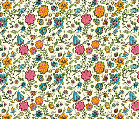 Springtime Floral fabric by snowflower on Spoonflower - custom fabric
